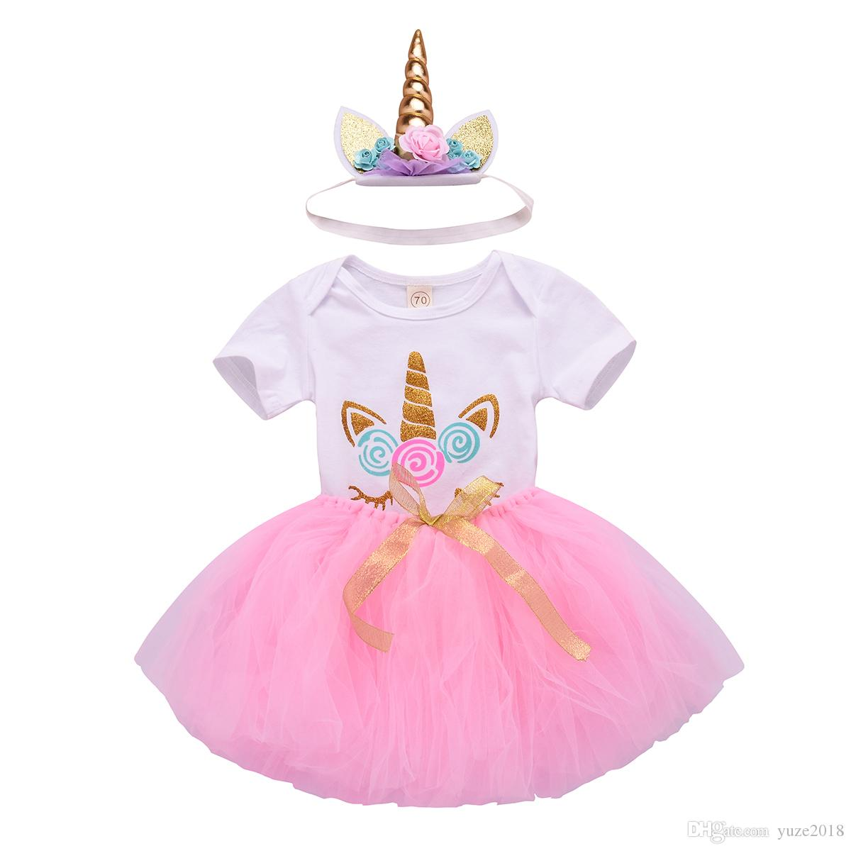 613def702796 2019 Baby Girl 1st Birthday Unicorn Outfits With Headband & Romper & White  Tops & Colorful Lace Tutu Skirts From Yuze2018, $8.04 | DHgate.Com