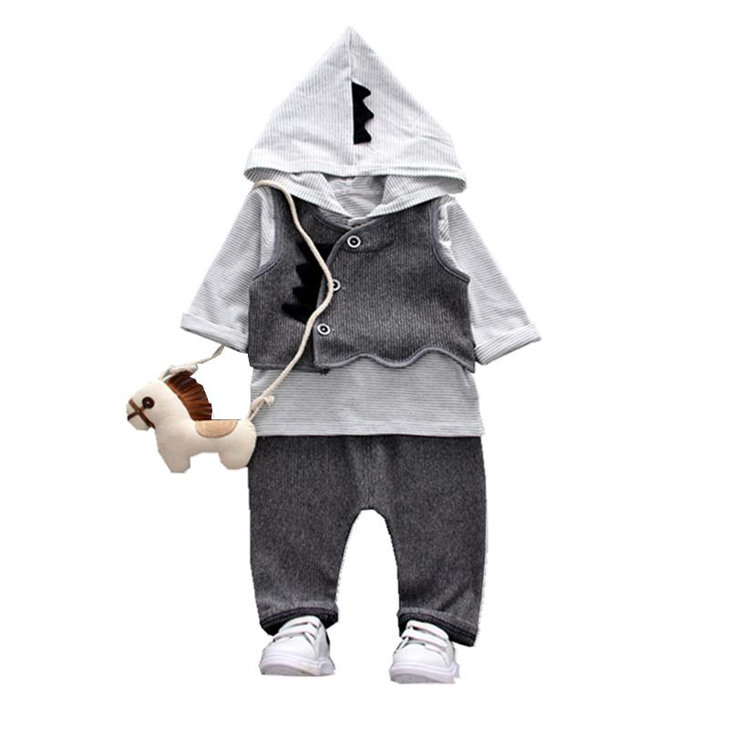 New Fashion Children Boys Girls Clothing Sets Cartoon Baby Vest Hoodies Pants 3Pcs/Sets Spring Autumn Kids Formal Tracksuits