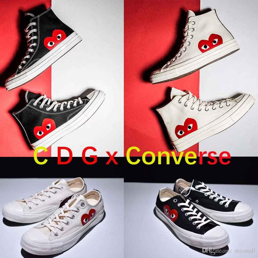 ever popular on wholesale cheap prices [WITH BOX] Kawakubo Rei COMME DES GARCONS PLAY X CONVERSE CHUCK TAYLOR  ALL-STAR 1970S Sneakers Canvas Polka White LOW Canvas
