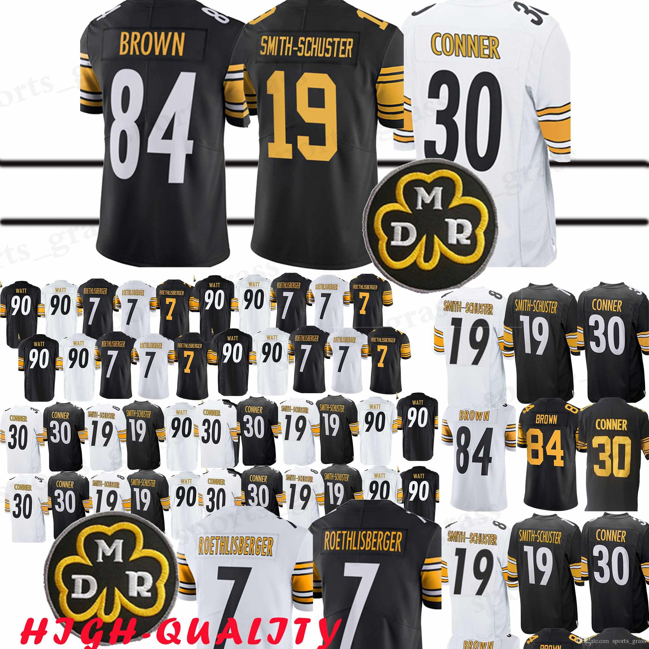 official photos bb8cd 44427 30 James Conner 2019 Pittsburgh jerseys 7 Ben Roethlisberger Steeler 19  Juju Smith-Schuster 90 T.J. Watt jerseys 2019 new