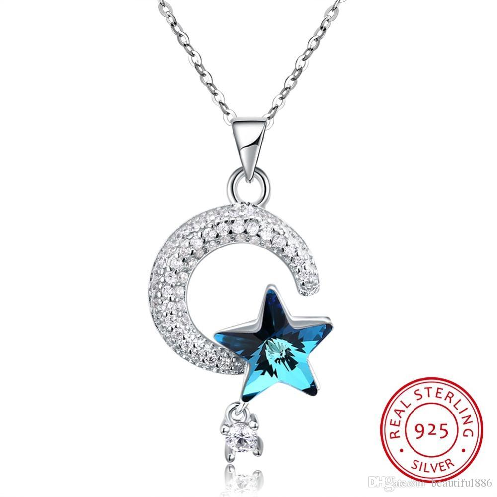 Genuine S925 Sterling Silver Crescent Moon & Star Crystal From Swarovski Element Pendant Necklaces for Women Fine Jewelry Gifts