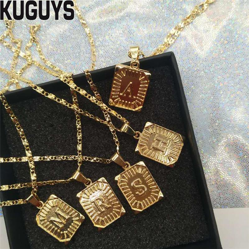 c666aae66942 Wholesale KUGUYS Fashion Jewelry Gold Square Letter Pendant Necklaces For  Womens Vintage Chain Delicate Metal Chokers Necklaces Accessories Silver  Jewelry ...