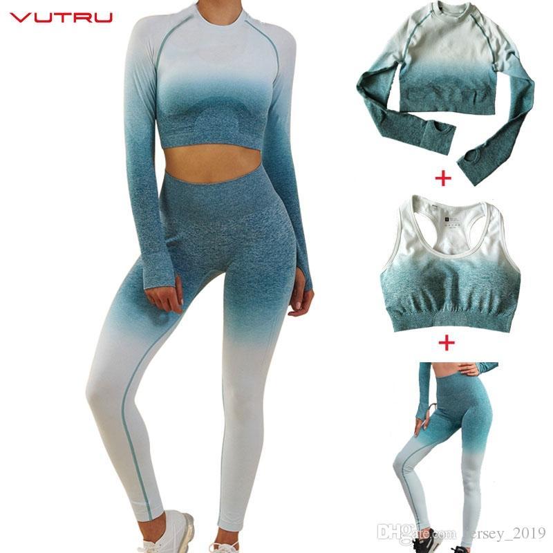 f4bb6caacc232 2019 Vutru Sportswear Ombre Seamless Set Women Sport Suit Gym Workout  Clothes Long Sleeve Crop Top+Sexy Sports Bra+Leggings  47759 From  Jersey 2019