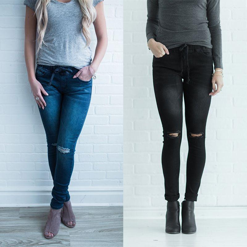 e3b46f5021 Compre Mujeres 2019 Nuevos es Cintura Elástica Apenada Jeans Ajustados Para  Damas Rodilla Rasgado Agujero Dril De Mezclilla Pantalones Pantalones Femme  ...