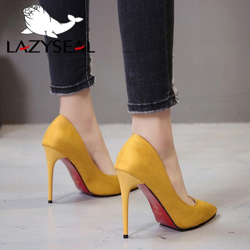 fb0b05f38b Compre Preguiçosos Sapatos Mulheres Bomba Stiletto Camurça Do Falso  Sandálias Básicas Cores Sólidas 2018 Deslizamento Em Saltos Altos 11 CM  Sandálias Femme ...