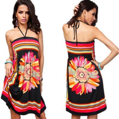 4b4d3593e Mujeres calientes vestidos de verano de moda más el tamaño vestido bohemio  mujeres de impresión sin tirantes del hombro sexy falda de la playa ropa ...
