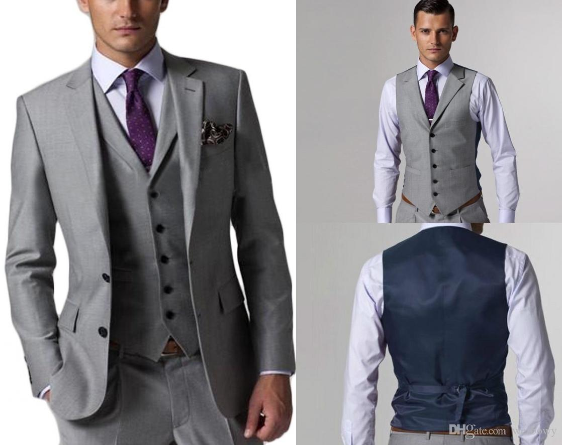 Custom Made Groom Tuxedos Light Grey Groomsmen Side Vent Best Man Suit Wedding/Men Suits Bridegroom (Jacket+Pants+Vest)