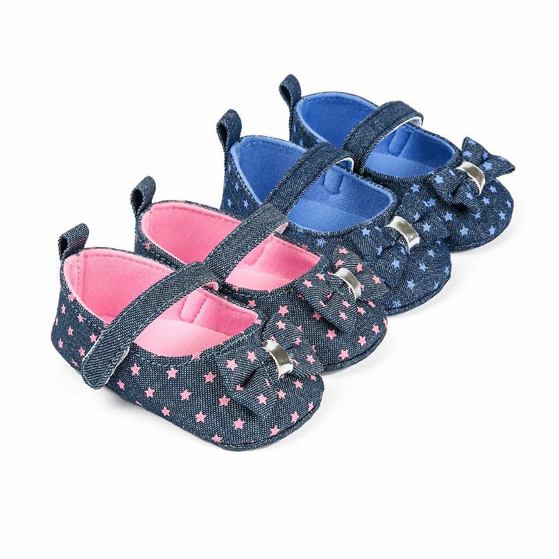 8fed0fd7da 2 Color Baby Girls Shoes Fashion Newborn Infant Baby Girl Print Bowknot  Soft Sole Anti-slip Shoes Baby First Walker Shoes JE19#F