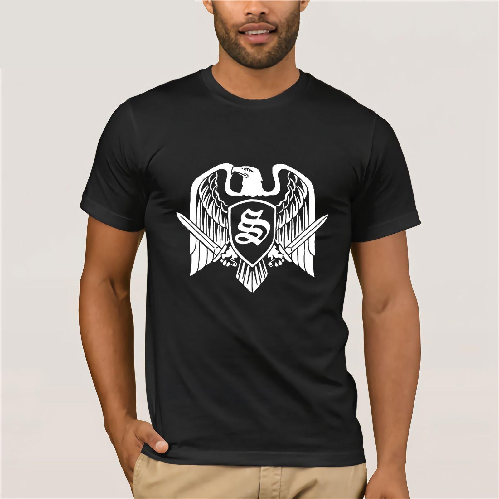 Round Neck Teenage Pop Top Tee Skrewdriver Recl Band Eagle Badge Unique Men  s Short-sleeved T Shirts