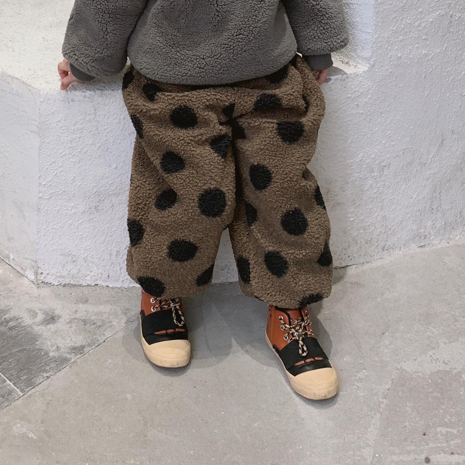 geeignet für Männer/Frauen neue bilder von größte Auswahl von 2019 WLG Jungen Mädchen Winter Samt Hosen Kinder dicken Punkt gedruckt lose  braune Kaffee Hose Baby lässig alle Match-Kleidung 1-6 Jahre