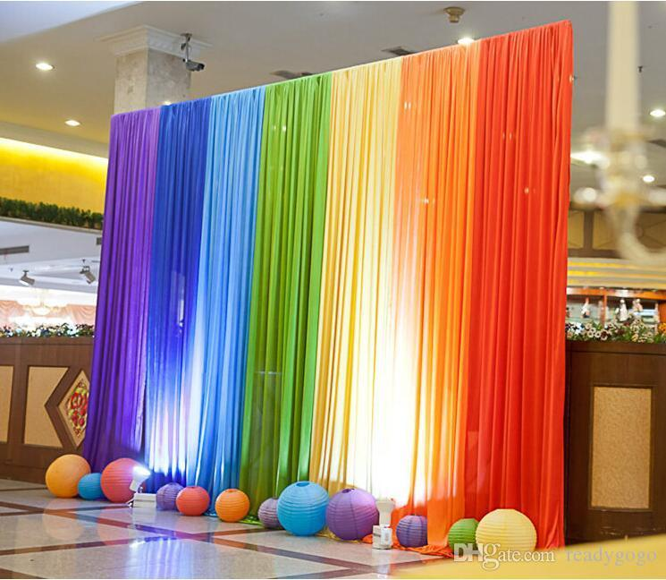 Ice Silk Rainbow Wedding Backdrop Colourful Wedding Background Party Decoration background drop colors for choose