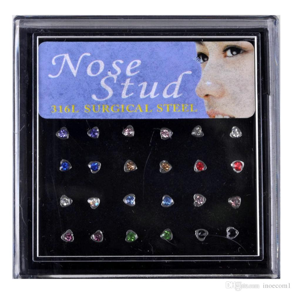 Indian Style 24pcs/Set *5 Colorful Crystal Rhinestone Heart Shape Nose Ring Studs 19G Stainless Steel Ear Tragus Nariz Piercing Body Jewelry
