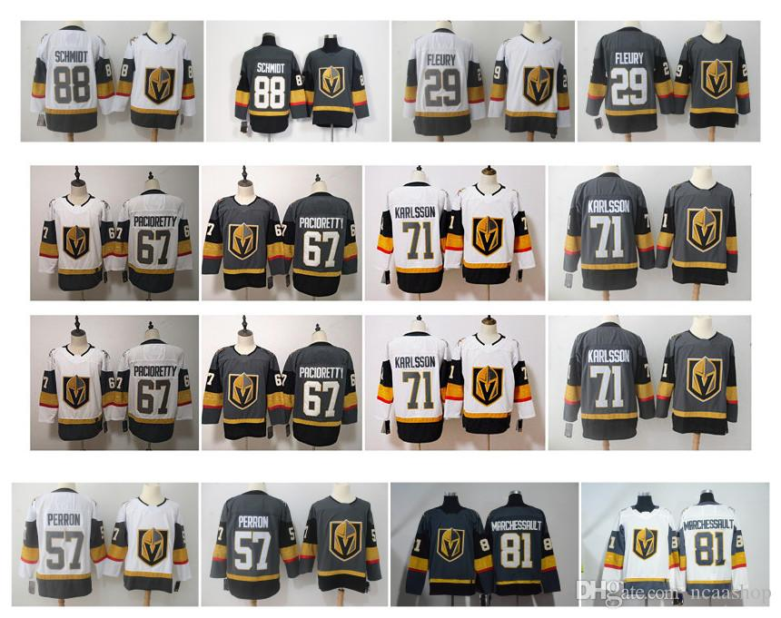info for 56a60 d877a NHL VGK Vegas Golden Knights 29 Marc-Andre Fleury 88 Nate Schmidt 57 David  Perron 71 William Karlsson 81 Jonathan Marchessault Hockey Jersey