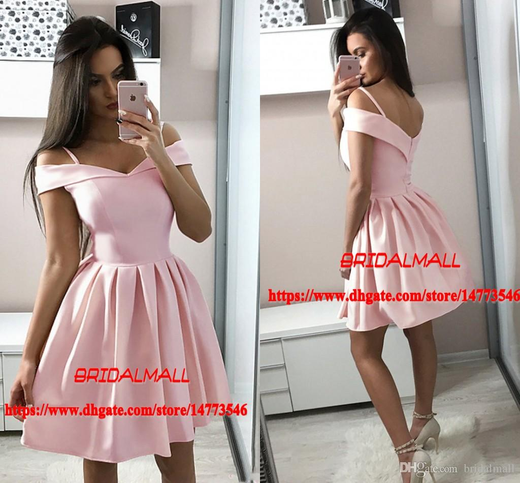 023a63217ce6 Simple 2019 Pleats Pink Satin Cocktail Dresses Off The Shoulder Short Prom  Dresses For Teens 8th Grade Mini Formal Party Gowns Graduation Cocktail  Dress ...