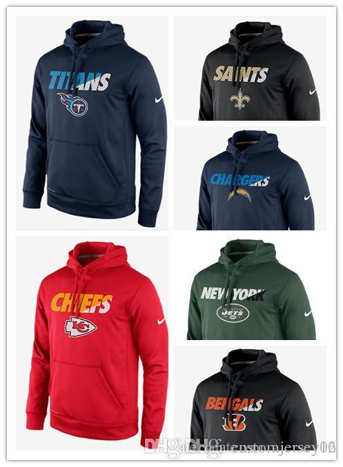 competitive price 6c4b4 b5016 2018 Men hot Chiefs Bengals Chargers Jets Titans Saints Staff Performance  Pullover Hoodie Sweatshirt Outdoor Apparel