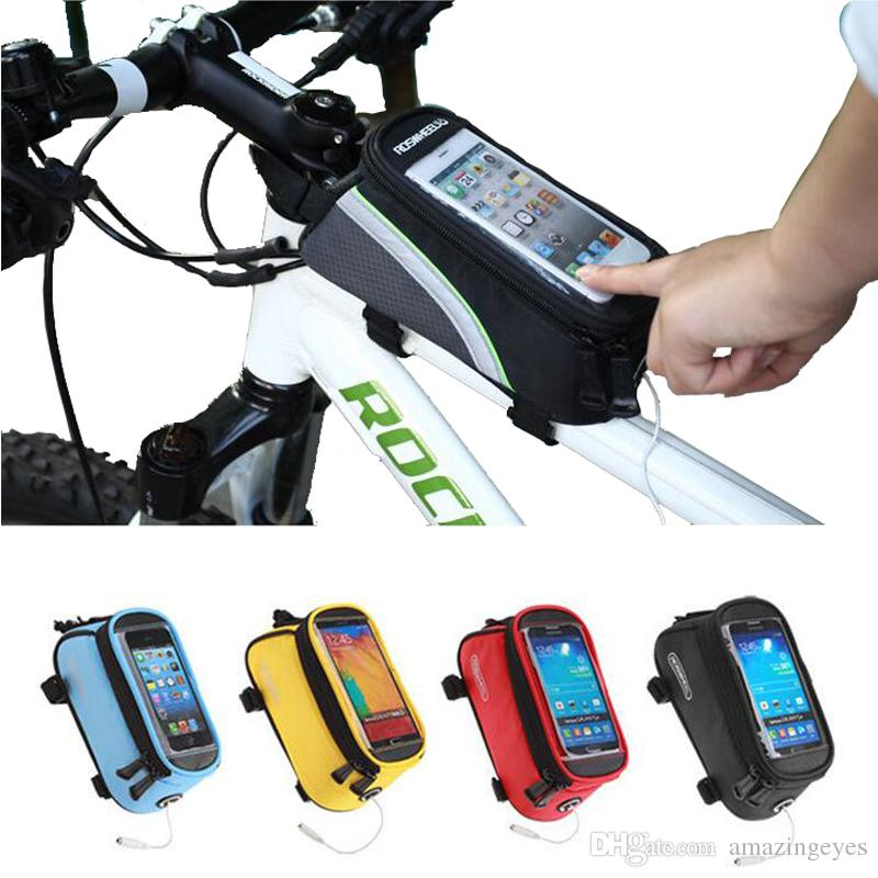 Bicycle Frame Front Tube Bag Mountain Bike Cycling bags Pannier Pouch Basket Mobile Phone Screen Touch Holder waterproof phone storage bag