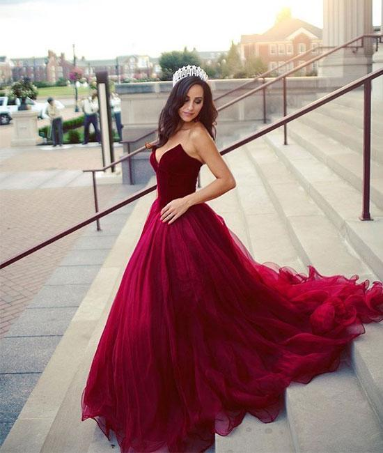 Women Fashion Rose Red Sweethear Tulle Ball Gown Long Evening Dress Lace Up Back Prom Dress For Formal Occasion Party Custom Plus Size