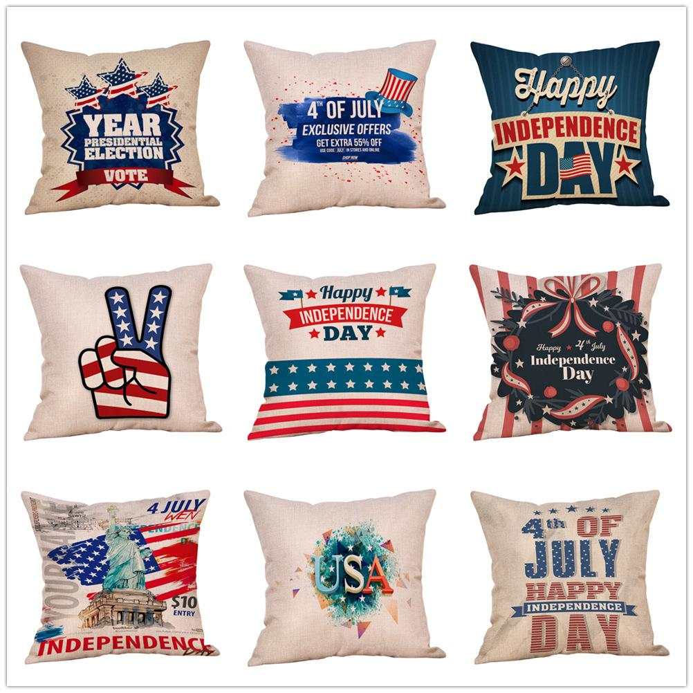 American flag Stars Stripe Pillow Case Letter print Pillow Cover 45*45cm Sofa Nap Cushion Covers Home Decoration 51 styles MMA1742-1