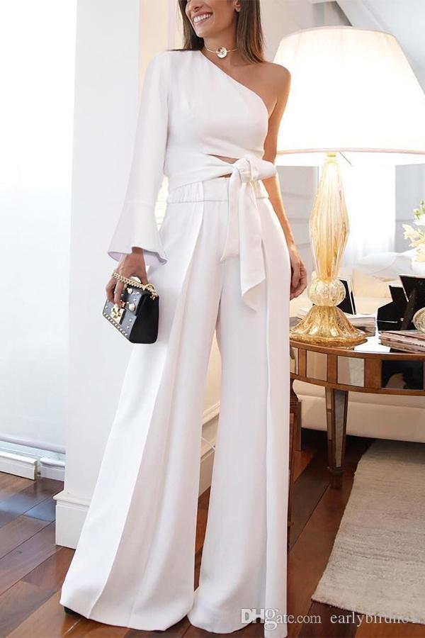 Elegant White One Sahoulder Rompers Party Wear Evening Dresses Pant Suits Cheap Prom Party Gowns Jumpsuit Celebrity Dresses 2097