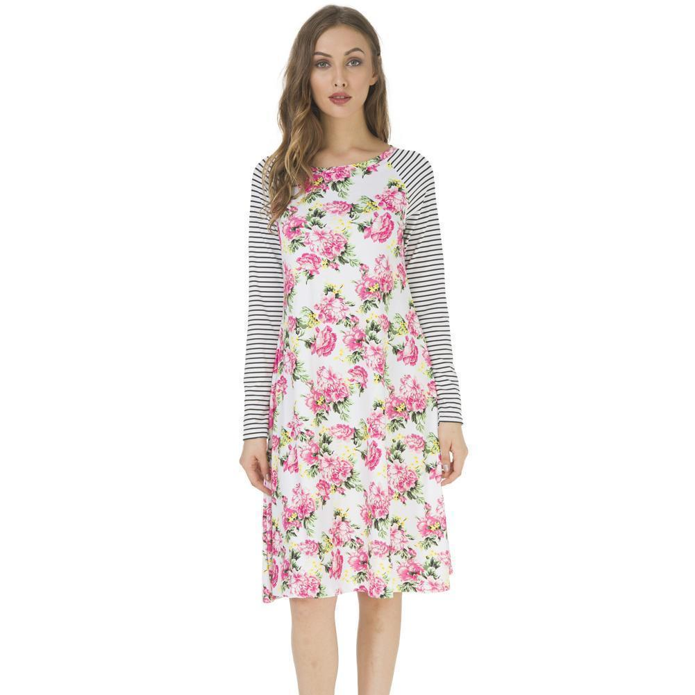 667c333446b1 2019 New Fashion Casual Women Christmas Long Sleeves Dress Striped Floral  Print O Neck Raglan A Line Dress Vestidos Pajamas Party Dress Juniors Long  Womens ...