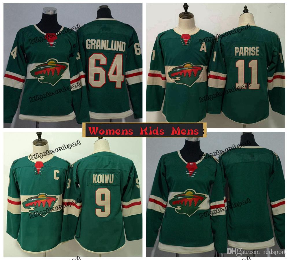 new style 73678 fd46d 2019 Ladies Minnesota Wild Hockey Jerseys 11 Zach Parise 9 Mikko Koivu 64  Mikael Granlund Girls Kids Womens Mens Stitched Shirts