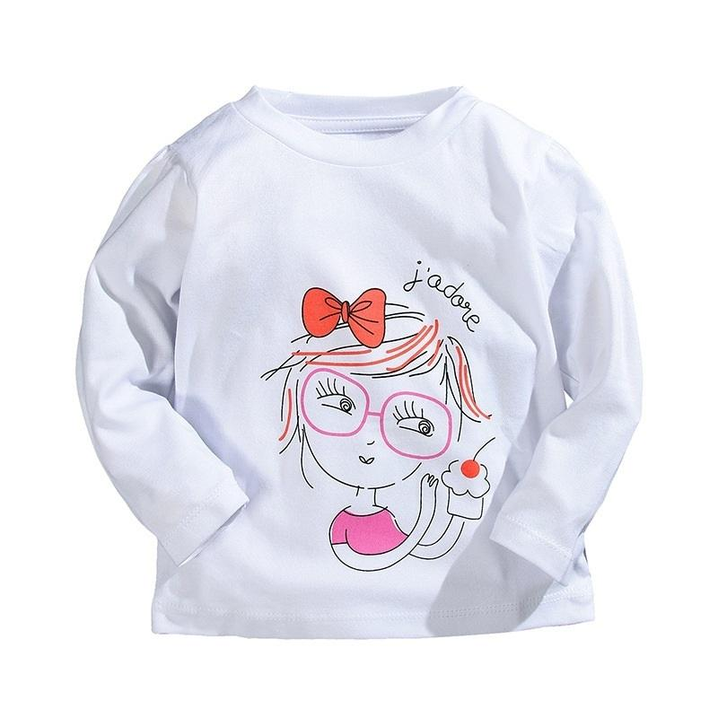 Cartoon Printed T-shirts For Girls Brand 100% Cotton Long-sleeve Girls T Shirts 1-5 Years Kids Baby Girls Tops Children Tees