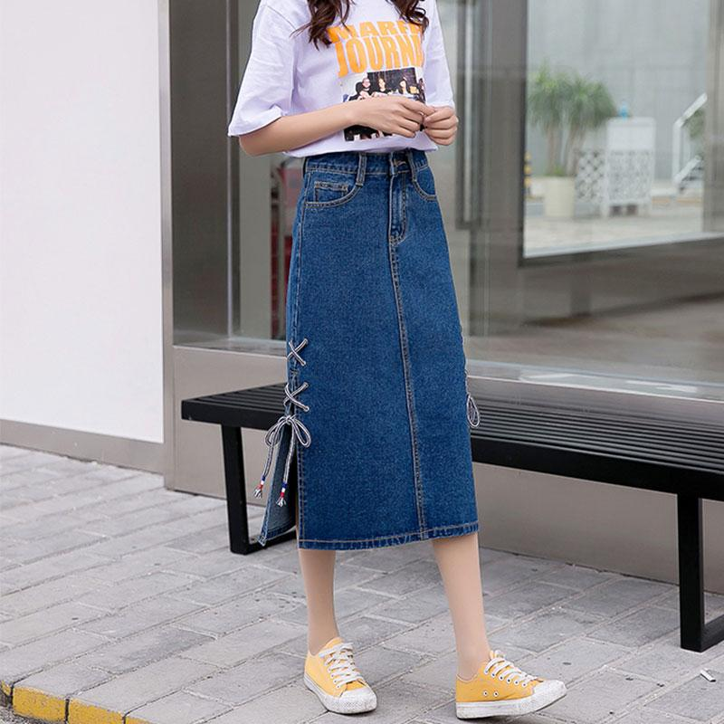 e1c7565da Faldas Moda mujer 2019 Falda de mezclilla Hendidura lateral Faldas largas  Verano de cintura alta Tipo A Bolsa Hip Jeans Falda Jupe Femme TY250