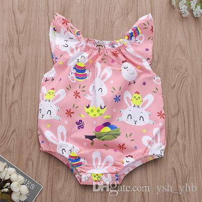 32fc6b145b2 2019 Easter Day Bunny Print Bodysuits Baby Girls Clothing Newborn Floral  Full Print Baby Girl Clothes Jumpsuit Romper Kids Clothing From Ysh yhb