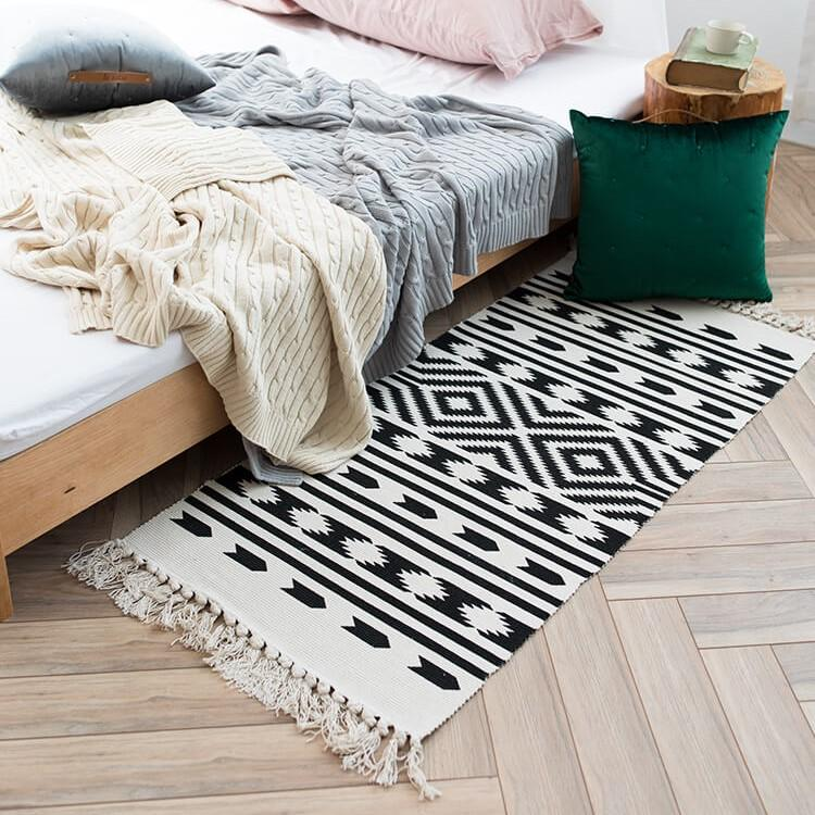 60x90/60x130cm Nordic Solid Color Printed Cotton Thread Floor Mat Door Mat  Indoor Rug Carpet Living Room Coffee Table Porch Carpet Color Samples  Patterned ...