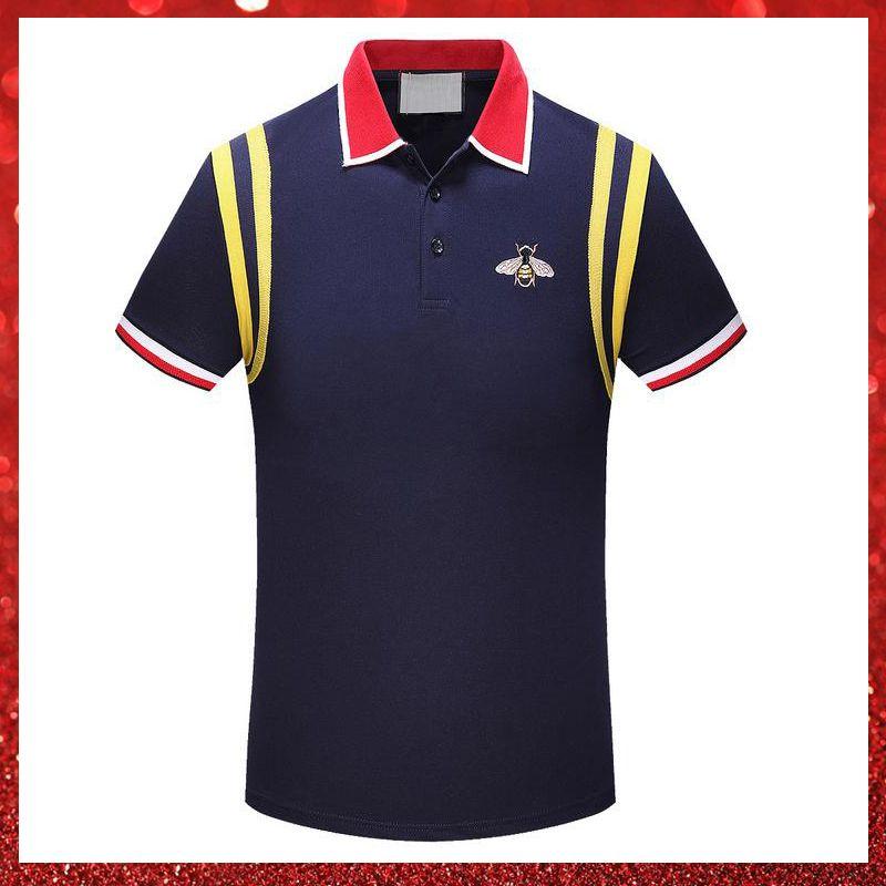 6352e7b9 2019 Brand New Luxury Designer Casual Men Polo T Shirt Snake Bee Floral  Embroidery Mens Polos High Street Fashion Polo Shirts Men T Shirt Sale Cool  Shirt ...