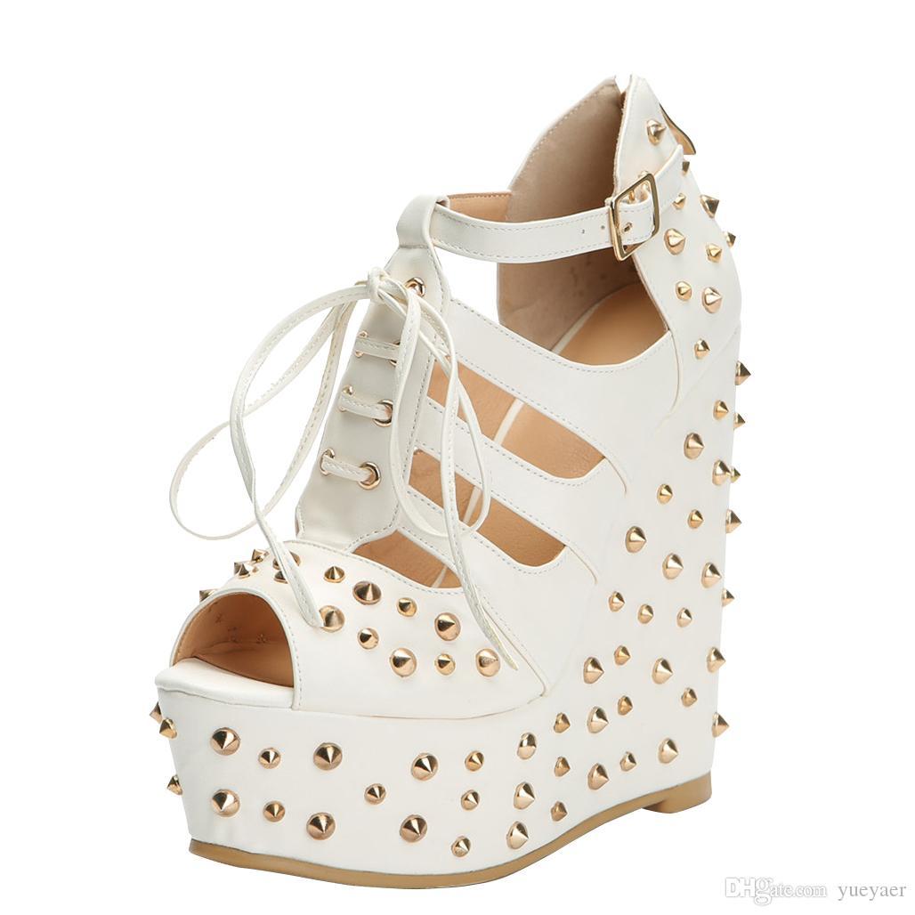 a25ddd14d2d Acheter Wadge Talon Sandales Rivets Pointes À Lacets Party Prom Été Sexy  Sandale Chaussures Nc De  90.45 Du Yueyaer