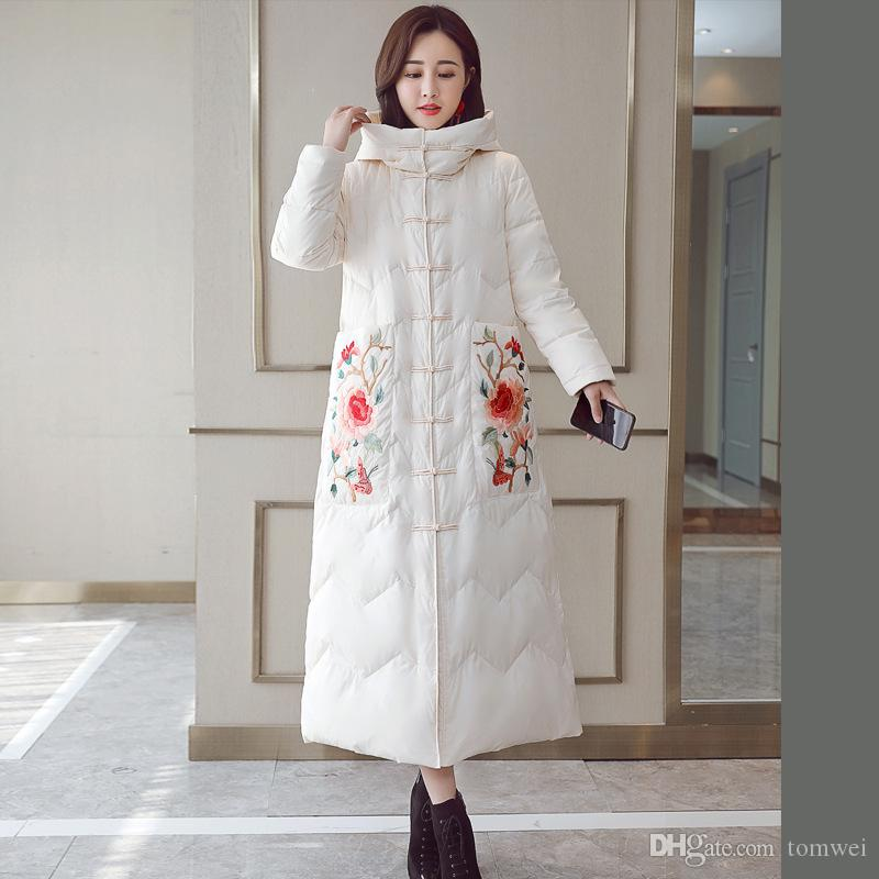 73aa0727e0f 2019 Flower Embroidery Long Down Coat Womens Tops Winter Jackets Duck Down  Parka Thicken Warm Ladies Clothing New Fashion 2018 From Tomwei