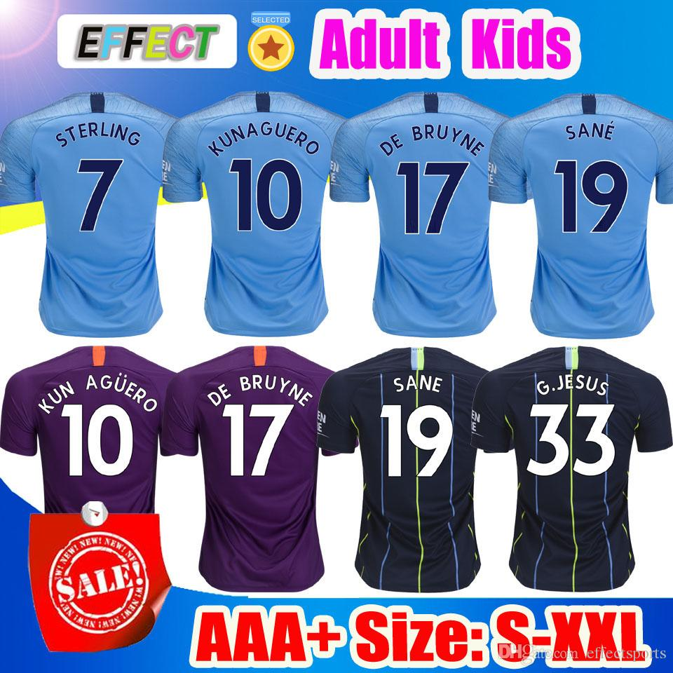 aae849b93 2019 KUN AGUERO MAN STERLING CITY 18 19 Soccer Jerseys 2018 2019 Home G  JESUS DE BRUYNE SANE SILVA BERNARDO MAHREZ Purple Football Shirt From  Effectsports