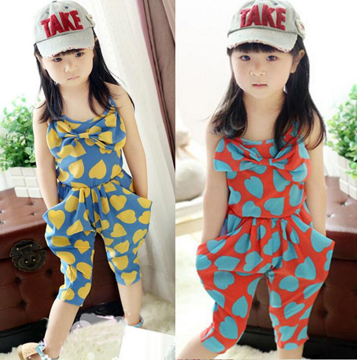 9d52c85a7c63 2019 Girl Baby Heart Pattern One Piece Jumpsuit Cropped Trousers Harem  Pants 2 7 Year 5 P L From Sintent