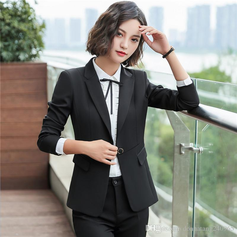1ee38e39d9abe Newest Winter Spring Elegant Office Lady Business Suits Female Two Piece  Sets Femme Long Sleeve Jacket and Trouser suits 6008