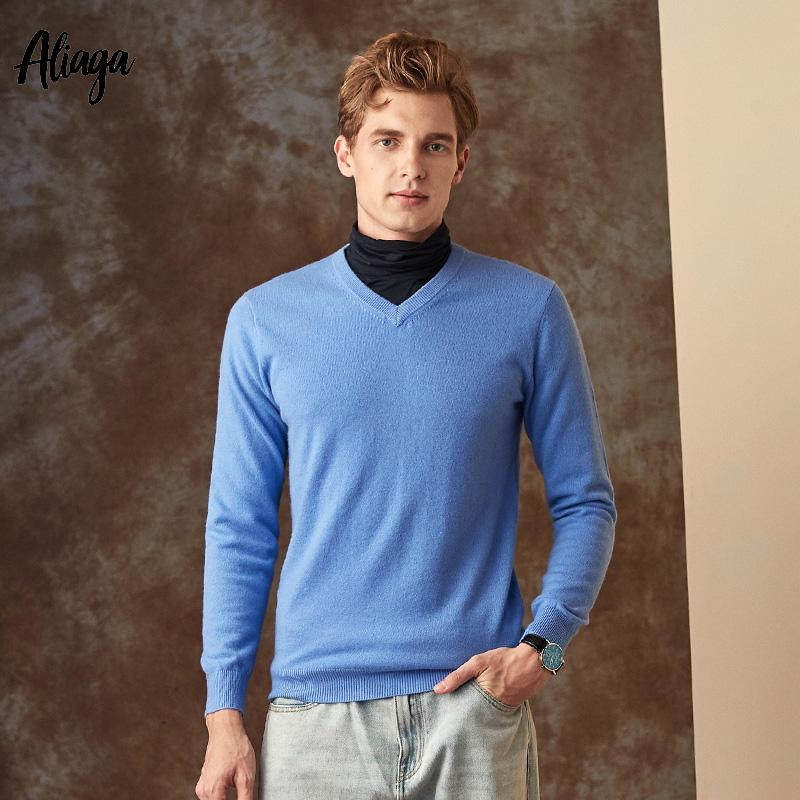 a90f72e78cd 100% Goat Cashmere Sweater Men V-neck Sweater Man Pullovers Knitting Autumn  Winter Male Warm Handmade Plus Size Sweaters Jumpers