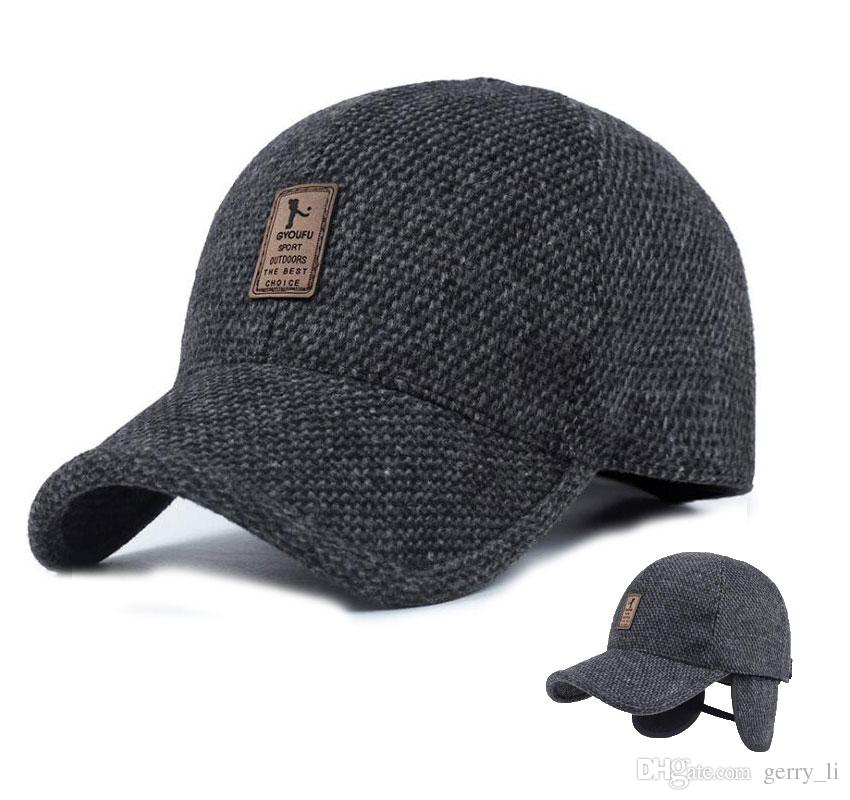 3b2c87a6 Mens Winter Baseball Caps Male Warm Wool Woolen Tweed Baseball Hat With  Fold Earmuffs Warmer Earflaps For Men Adult Accessories Leather Hats The  Game Hats ...