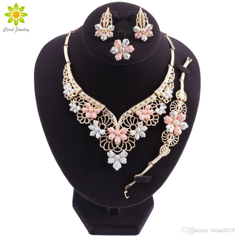 Fashion Charm African Bride Earrings Ring Jewelry Sets Classic Style Wedding Dubai Necklace Bracelet for Women Jewelry SetFashion Statement