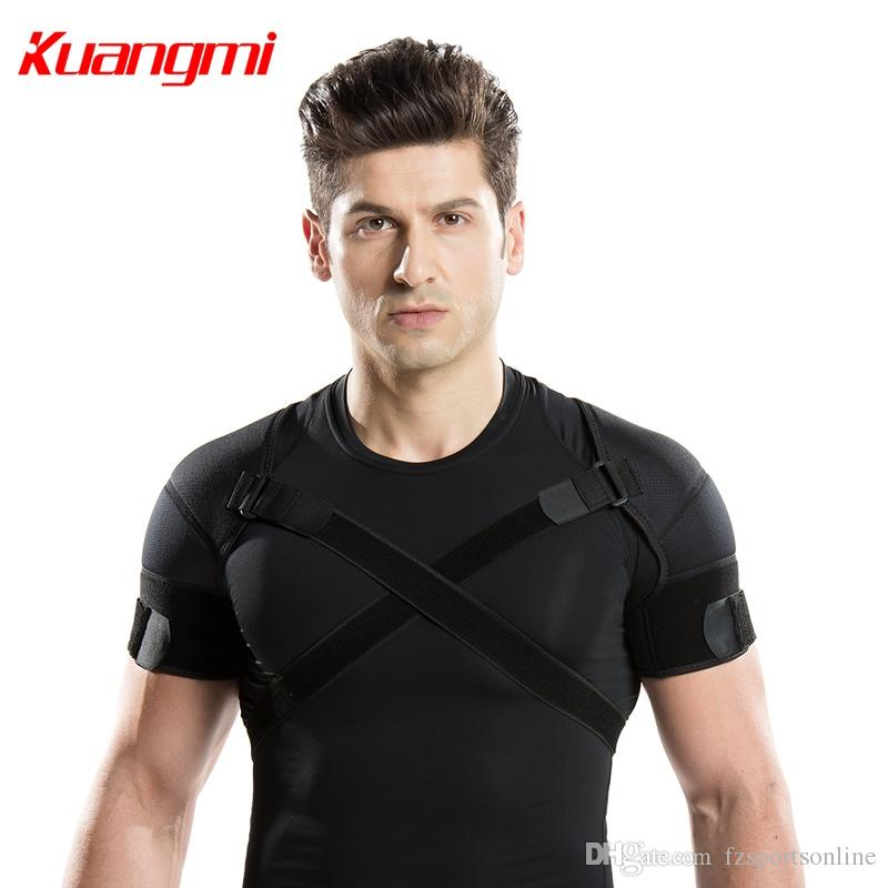 3d739ce281 2019 Kuangmi Double Shoulder Support Strap Adjustable Bandage Sports Double  Shoulder Brace Wrap Belt Band Pad Back Support Protector #370071 From ...