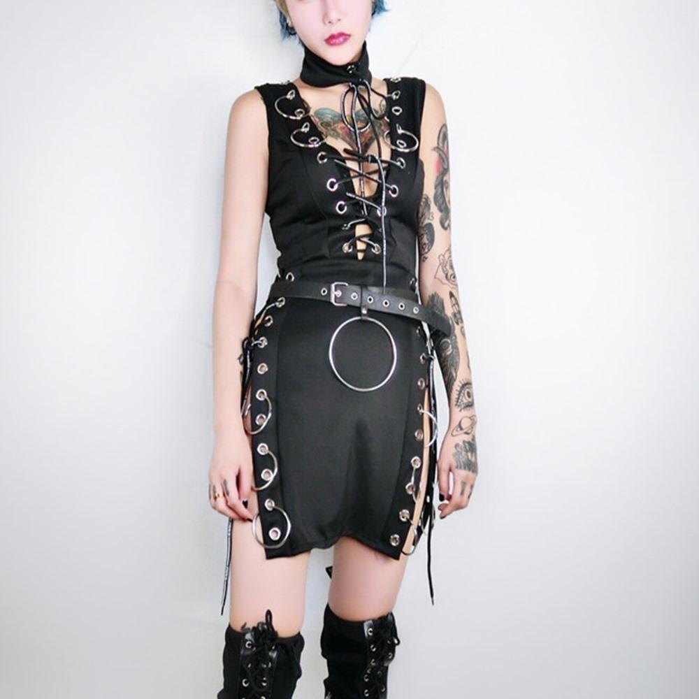 2f9547bff81c Acquista Gothic Black Split Sexy Mini Abiti Costume Donna Moda Senza ...