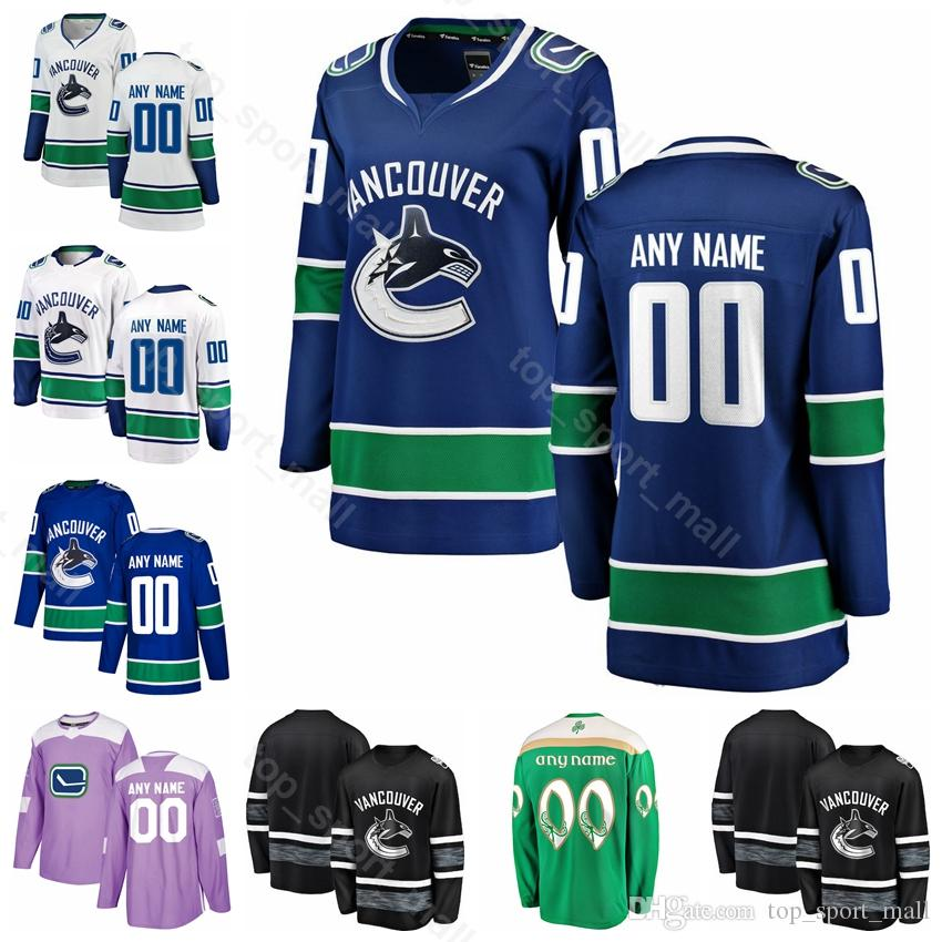 best website 218ff 56548 Vancouver Canucks Hockey Custom Jersey 53 Bo Horvat 22 Daniel Sedin 33  Henrik Sedin 6 Brock Boeser 40 Elias Pettersson St Patricks Day