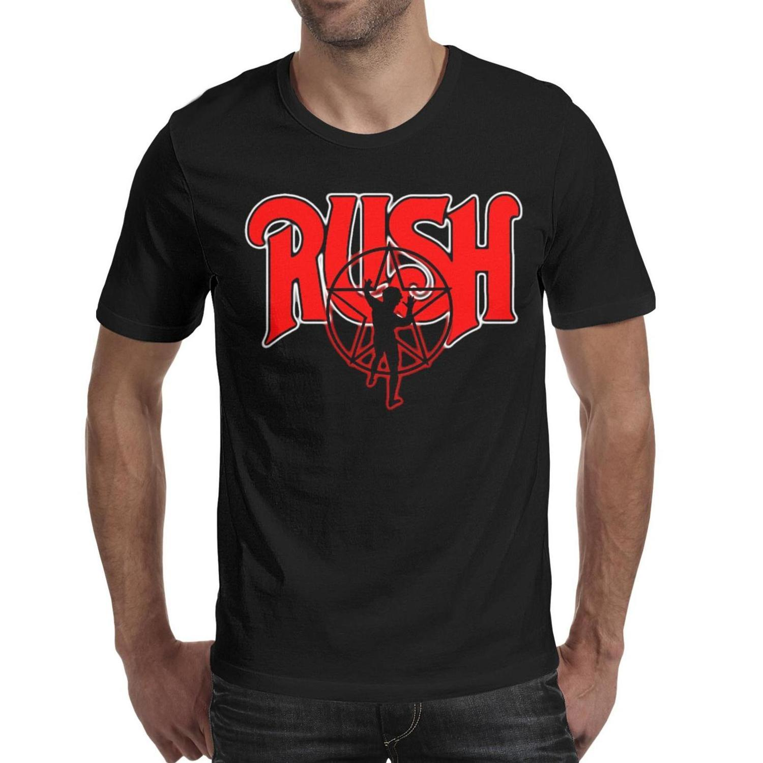 Rush Metallica Logo Summer Men T Shirt black Shirts Custom T Shirts Cool Undershirt Band Wholesale Shirt Black