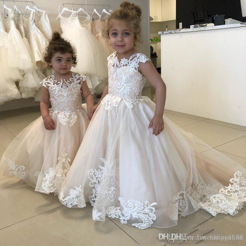 0fc28f11a77d98 2019 Lace Applique Flower Girl Dresses For Wedding Buttons Back Toddler  Pageant Gowns Tulle Sweep Train Kids Communion Dress Flower Girl Wedding  Dresses ...