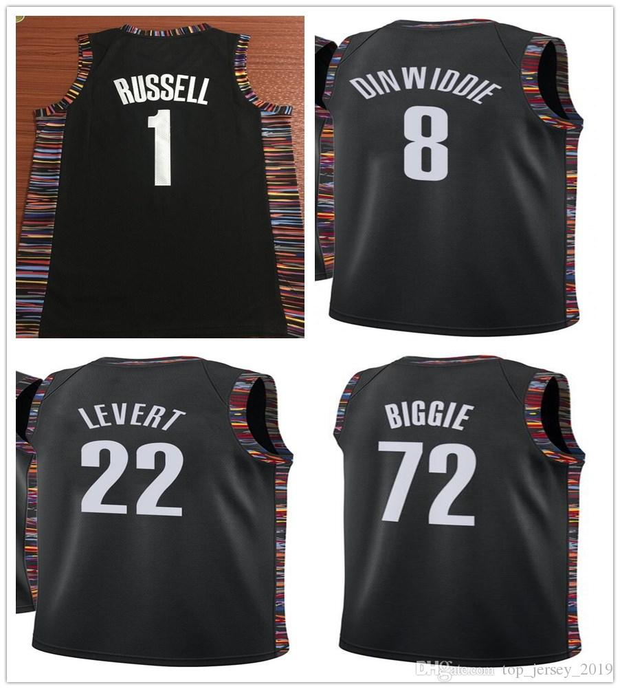 the best attitude 6dfe8 0e77d 2019 Music Edition D'Angelo Russell Jersey D Angelo Russell Black Spencer  Dinwiddie Caris LeVert 72 Biggie Jerseys Stitched Shirts