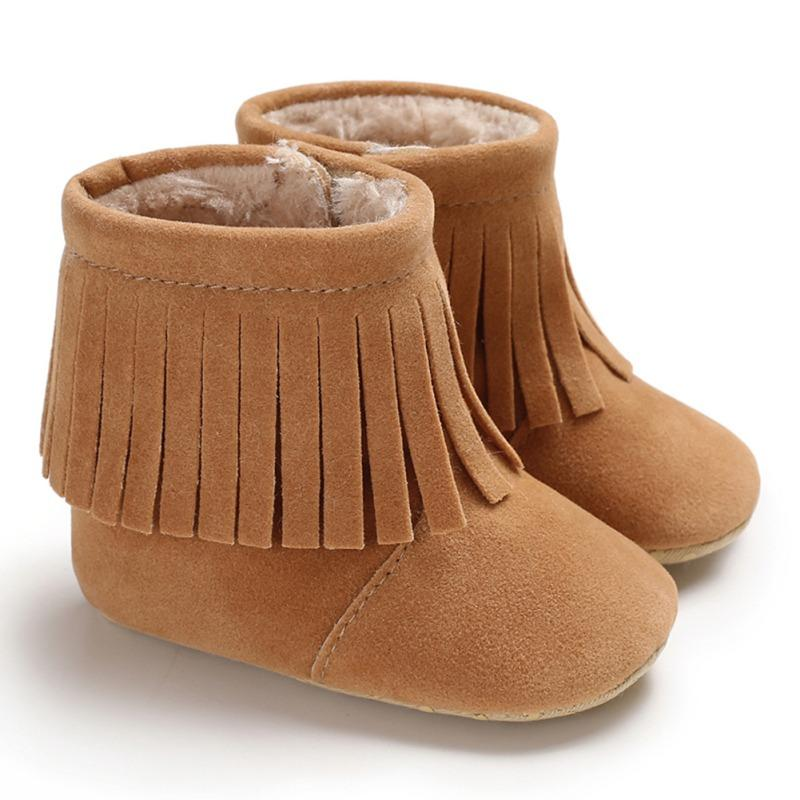 e89e6c5fe3572 Fringe baby boots with fur inside infant toddler moccasins for girls kids  booties soft bottom shoes