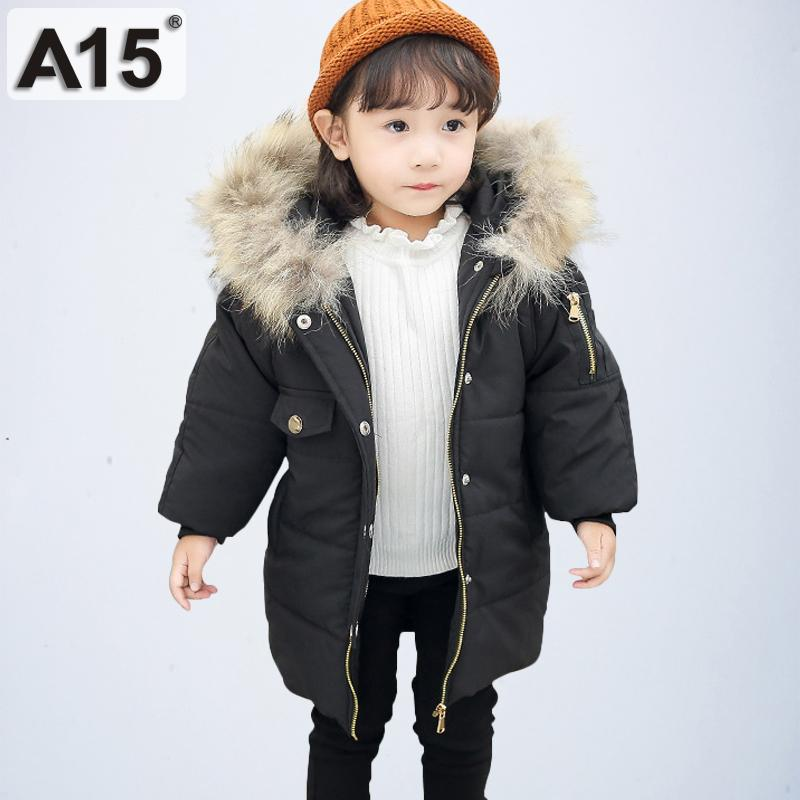 2b7e98c4afb A15 2019 baby girls winter coats hooded with fur toddler clothes park  children jackets for girls kids outerwear size 2T 4 6 Year