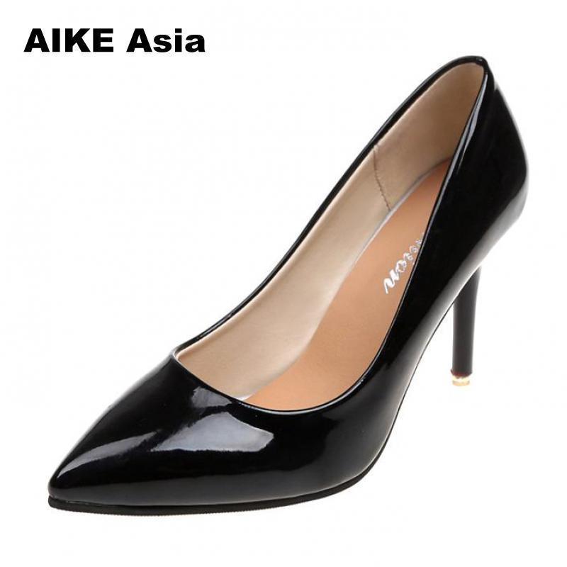 9682256d3 Compre Aike Ásia Plus Size 34 42 Outono Sapatos De Salto Alto Fino Feminino  Mulher Casamento Branco Senhoras Apontou Toe Mulheres Bombas Extremas Sexy  De ...