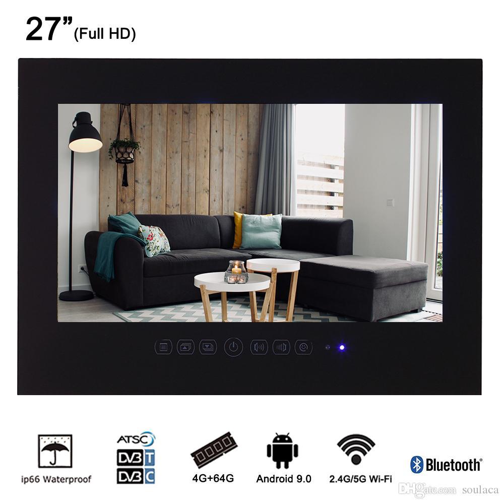 27 Zoll Schwarzes Smart Android-wasserdichtes Badezimmer-TV Frameless  LCD-Monitor, der volles HD LED Wi-Fi Fernsehen annimmt