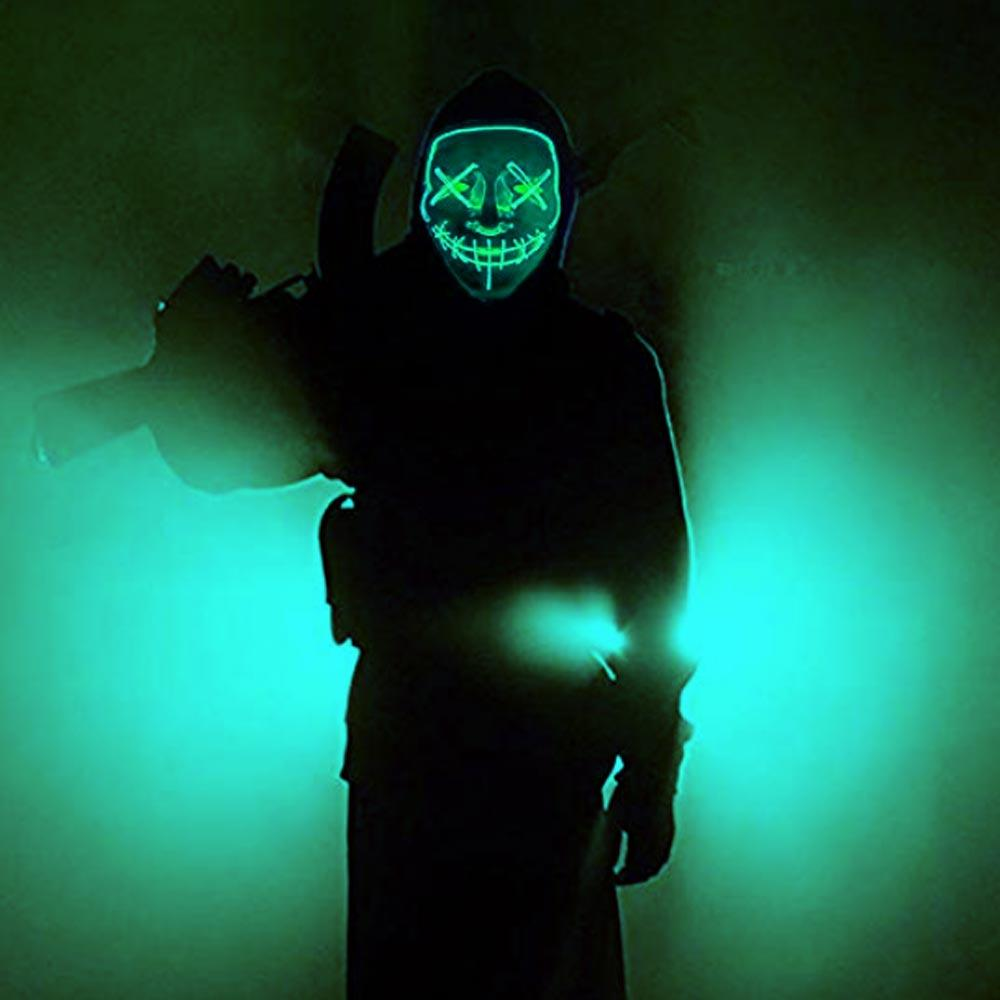 BRELONG 1 pc Mask Halloween LED Up Party Horror Mask Shiny Cosplay Clothes Supplies Dark Mask