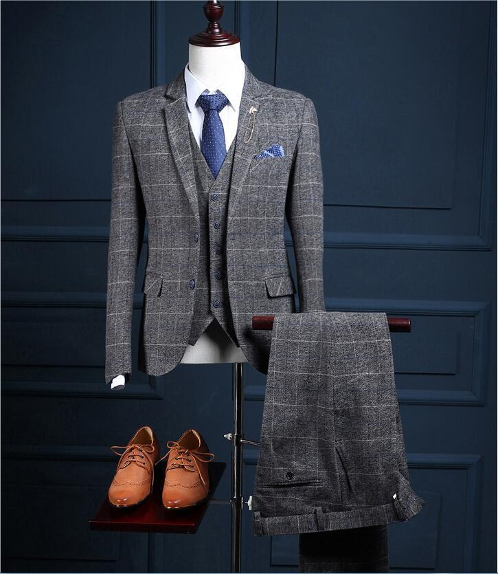 Three-piece Men's Suit 2019 New Fashion Autumn British Style Korean Version Of The Small Suit Business Slim Suit